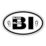 Block Island Flip Flops Oval Decal