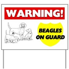 Warning Beagles On Guard Yard Sign