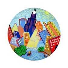 Round Ceramic Ornament<BR>CHICAGO RIVER VIEW