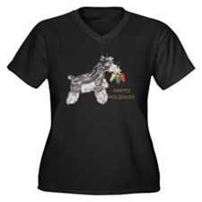 Schnauzer Holiday Plus Size V-Neck T-Shirt