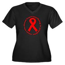 Red Hope Women's Plus Size V-Neck Dark T-Shirt