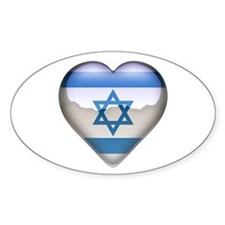 Israel Heart Oval Decal