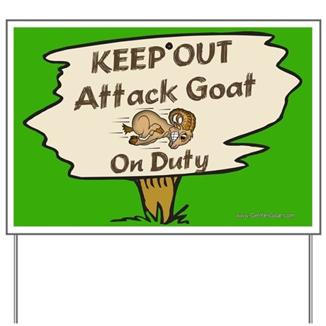 Keep Out Attack Goat Yard Sign
