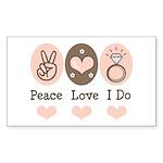 Peace Love I Do Bride Rectangle Sticker