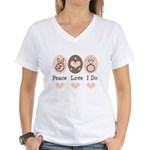 Peace Love I Do Bride Women's V-Neck T-Shirt