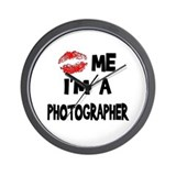 Kiss Me I'm A Photographer. Wall Clock