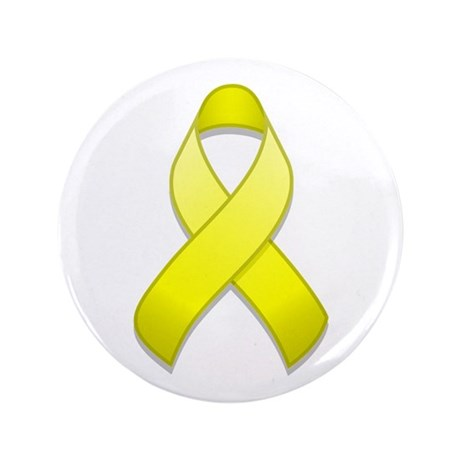 "Yellow Awareness Ribbon 3.5"" Button"