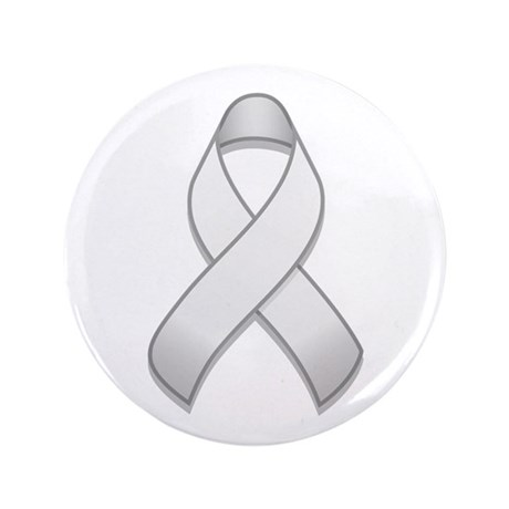 "White Awareness Ribbon 3.5"" Button"