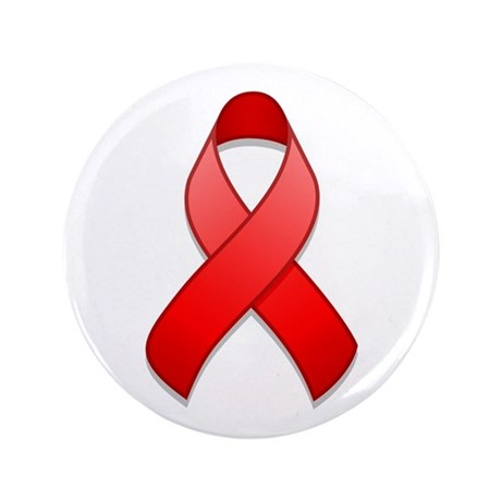 "Red Awareness Ribbon 3.5"" Button"