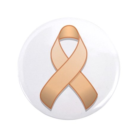 "Peach Awareness Ribbon 3.5"" Button"