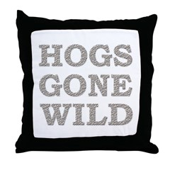 Funny Hogs Gone Wild Throw Pillow
