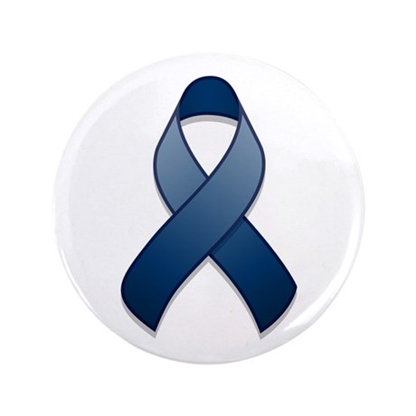 "Dark Blue Awareness Ribbon 3.5"" Button"