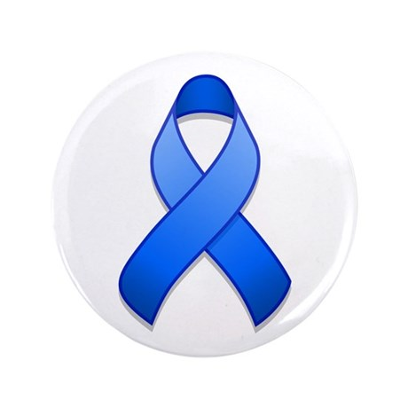 "Blue Awareness Ribbon 3.5"" Button"