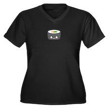 Little Sushi Women's Plus Size V-Neck Dark T-Shirt