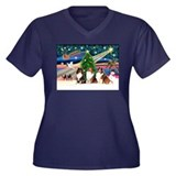 XmasMagic/3 Shelties(t3) Women's Plus Size V-Neck