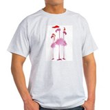 Three Pink Christmas Flamingo T-Shirt
