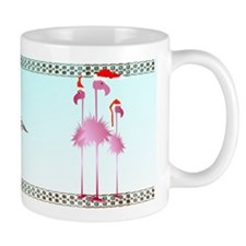 Three Pink Christmas Flamingo Mug