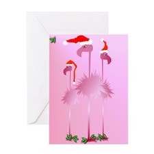 Three Pink Christmas Flamingo Greeting Card