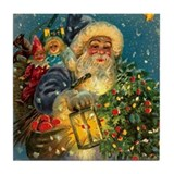 Christmas Santa Claus ~Blue~Lantern~ Postcard Tile