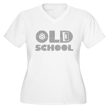 Old School (Distressed) Womens Plus Size V-Neck T