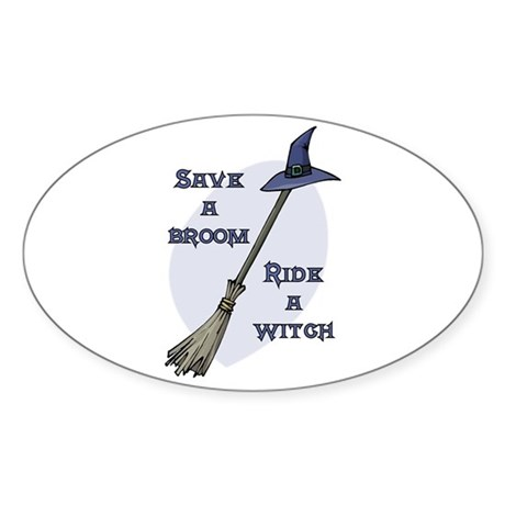 Ride a Witch Halloween Oval Sticker