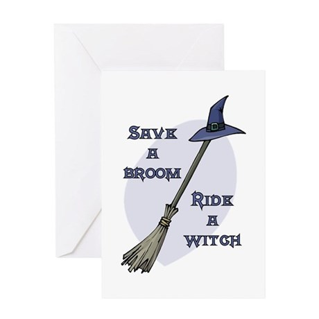 Ride a Witch Halloween Greeting Card