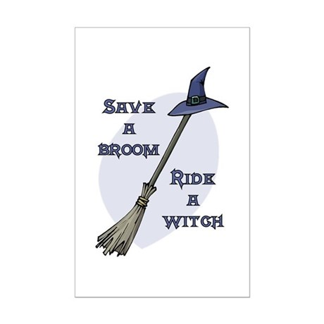 Ride a Witch Halloween Mini Poster Print