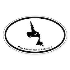 New Foundland Canada Outline Oval Bumper Stickers