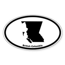 British Columbia Canada Outline Oval Bumper Stickers