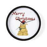 Merry Christmas Cat Wall Clock