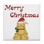 Merry Christmas Cat Tile Coaster