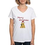 Merry Christmas Cat Women's V-Neck T-Shirt