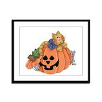 Cute Cat & Mice w/Pumpkin Framed Panel Print