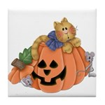 Cute Cat & Mice w/Pumpkin Tile Coaster