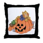 Cute Cat & Mice w/Pumpkin Throw Pillow