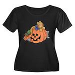 Cute Cat & Mice w/Pumpkin Women's Plus Size Scoop
