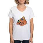 Cute Cat & Mice w/Pumpkin Women's V-Neck T-Shirt