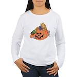 Cute Cat & Mice w/Pumpkin Women's Long Sleeve T-Sh