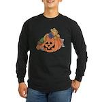 Cute Cat & Mice w/Pumpkin Long Sleeve Dark T-Shirt