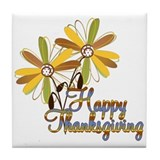 Happy Thanksgiving - Floral Tile Coaster