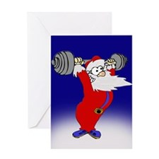 Working out Santa Greeting Card
