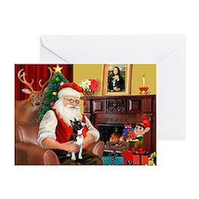 Santa's Boston Terrier Greeting Card