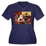 Santa's Chih (b&t) Women's Plus Size V-Neck Dark T