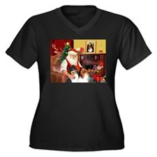 Santa's Collie pair Women's Plus Size V-Neck Dark