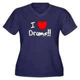 I Love Drums!! : Women's Plus Size V-Neck Dark T-S