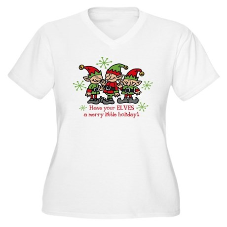 Merry Elves Women's Plus Size V-Neck T-Shirt
