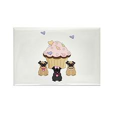 Pug Dog Cupcakes Rectangle Magnet