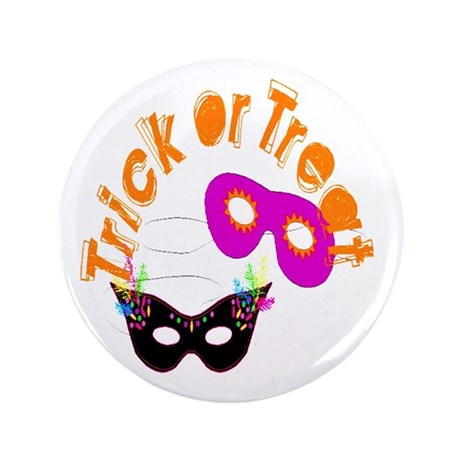 "Trick or Treat Masks 3.5"" Button (100 pack)"