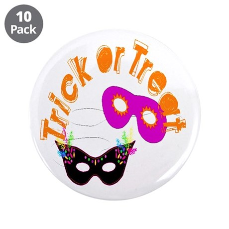 "Trick or Treat Masks 3.5"" Button (10 pack)"