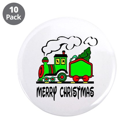 "Christmas Train 3.5"" Button (10 pack)"